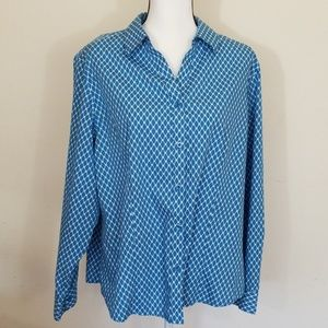 Chico's Long Sleeve Blue & White Blouse,  Size: 3